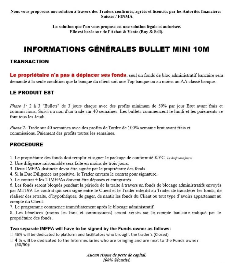 Descriptif et infotmations sur nos contrat bullets hautes performances 10M